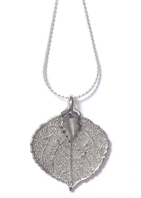 aspen leaf lace necklace silver