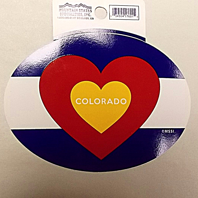 Colorado flag oval heart sticker