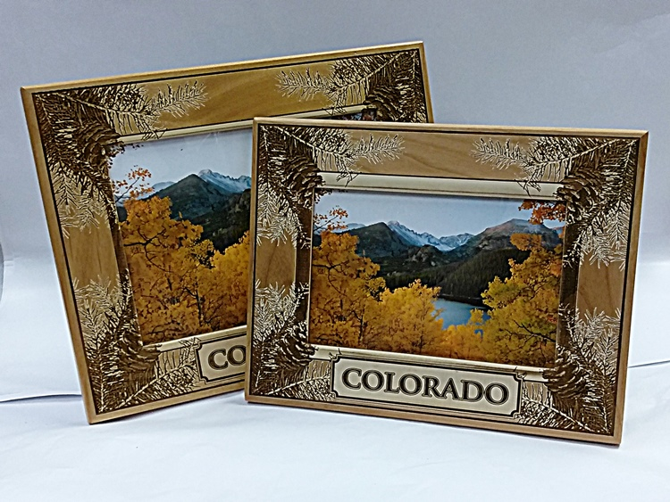 Wooden Colorado Picture Frames 5x7 - H Mountain Tree