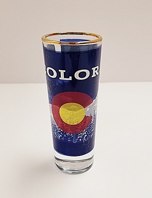 Colorado Flag and Mountains Tall Shot Glass