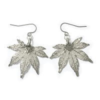 Silver Japanese Maple Leaf Earrings