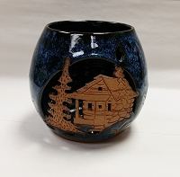 Ceramic Candle Holder With Cabin and Tree Design