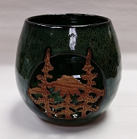 Ceramic Candle Holder With Mountain and Tree Design
