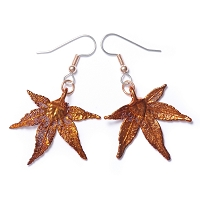 Copper Japanese Maple Leaf Earrings