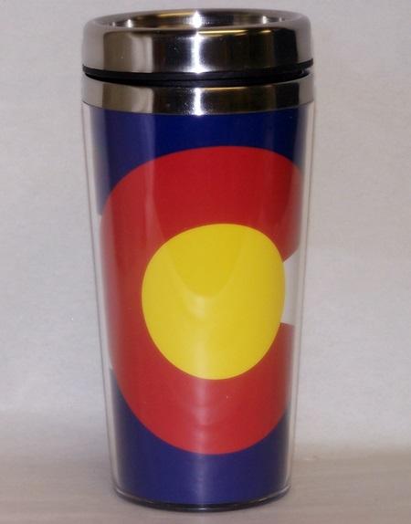 colorado flag travel coffee mug