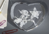 Large Beveled Columbine Paperweight