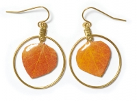 Natural Aspen Leaf Dangle Earrings with Hoop