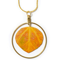 Natural Aspen Leaf Necklace with Hoop
