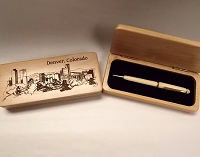 Denver Skyline Wood Box and Pen
