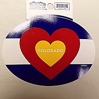 Colorado Flag Oval Heart Sticker