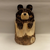 Wooden Bear Sculpture Log