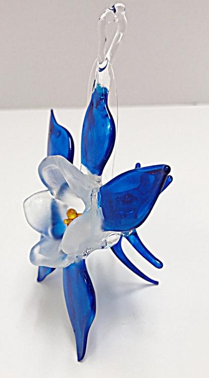 Large Blue Glass Columbine