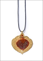 Gold and Copper Lace Real Aspen Leaf Necklace