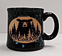 Pottery Speckled Colorado Bear Mug Blue