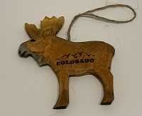 Wooden Colorado Moose Ornament