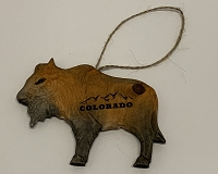 Wooden Colorado Buffalo Ornament