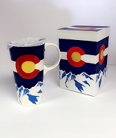 Colorado Flag Mtn Travel Mug With Box