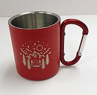 Red Stainless Steel Keychain Clip Camping Mug