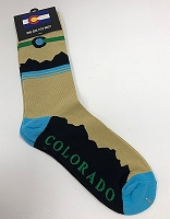 Tan, Teal and Black Colorado Mountain Socks