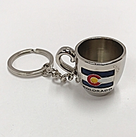 Colorado Flag Coffee Cup Keychain