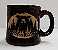Pottery Speckled Colorado Bear Mug Red