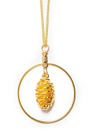 Pine Cone Necklace With Hoop (GOLD)