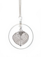 Aspen Leaf Necklace With Hoop (SILVER)