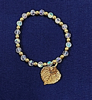 Aspen Leaf and Beads Bracelet Gold & Iridecent
