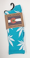 Marijuana Socks Teal/White