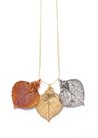 Tri Color Real Aspen Leaf Necklace