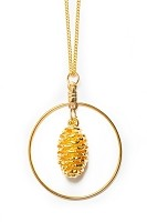 Gold Pinecone W Hoop Necklace
