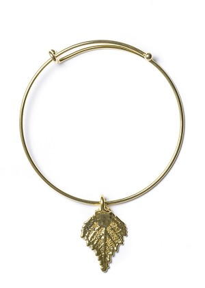 Gold Birch Leaf Bangle Bracelet