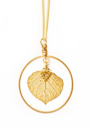 Gold Aspen leaf Necklace w/ Hoop