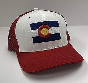 Red Colorado Flag Trucker Hat