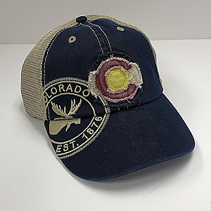Blue Frayed Colorado Flag And Moose Hat