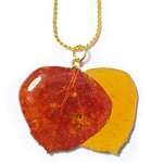Natural Aspen Double Leaf Necklace