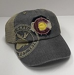 Grey Frayed Colorado Flag Moose Hat
