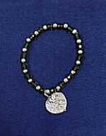 Aspen Leaf and Beads Bracelet Green &Silver