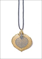 Double Leaf Necklace (Gold w/ Silver)